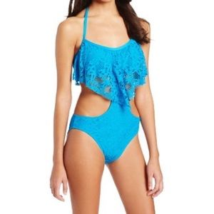 Kenneth Cole Reaction Swim - NWT Kenneth Cole Blue Crochet One Piece Swimsuit